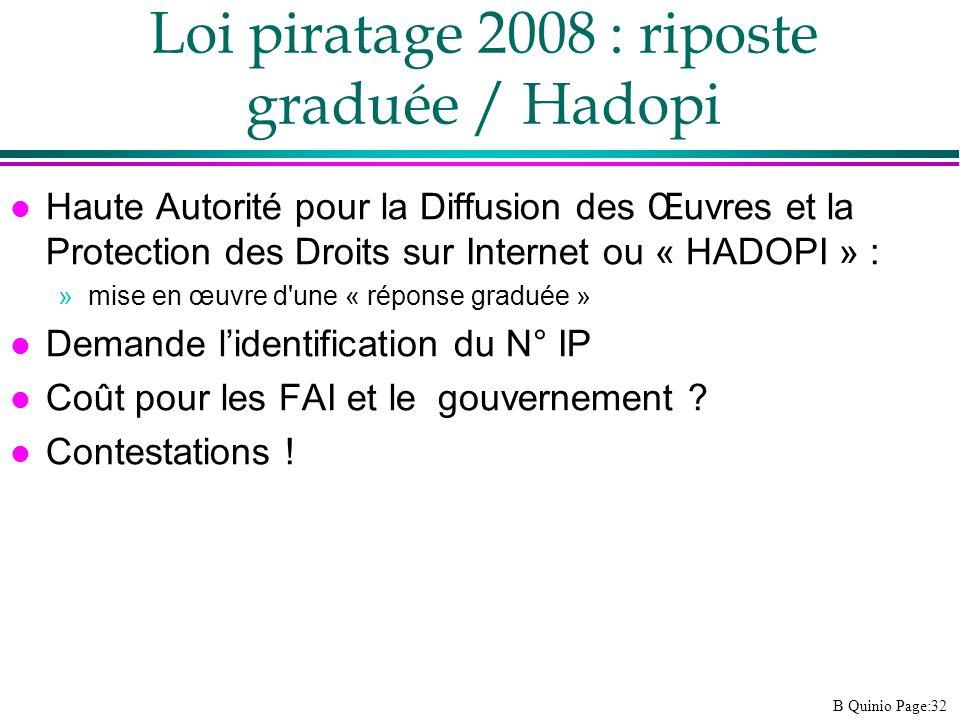 B Quinio Page:32 Loi piratage 2008 : riposte graduée / Hadopi l Haute Autorité pour la Diffusion des Œuvres et la Protection des Droits sur Internet o
