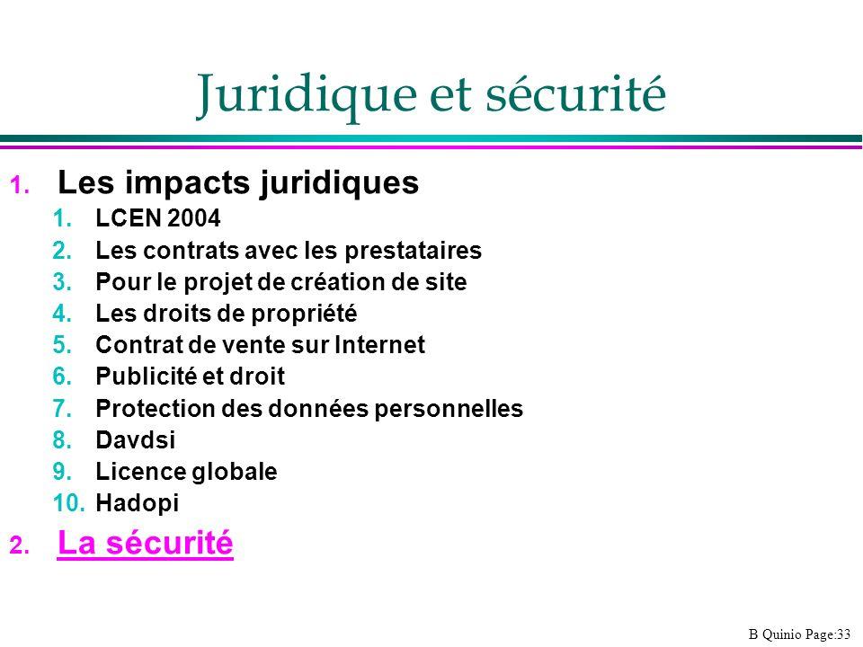 B Quinio Page:33 Juridique et sécurité 1. Les impacts juridiques 1.LCEN 2004 2.Les contrats avec les prestataires 3.Pour le projet de création de site