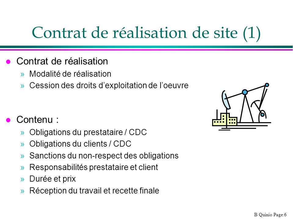 B Quinio Page:6 Contrat de réalisation de site (1) l Contrat de réalisation »Modalité de réalisation »Cession des droits dexploitation de loeuvre l Co