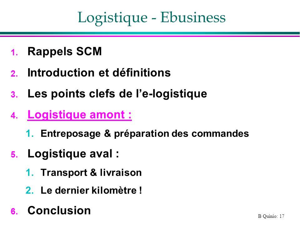 B Quinio: 17 Logistique - Ebusiness 1. Rappels SCM 2. Introduction et définitions 3. Les points clefs de le-logistique 4. Logistique amont : 1.Entrepo