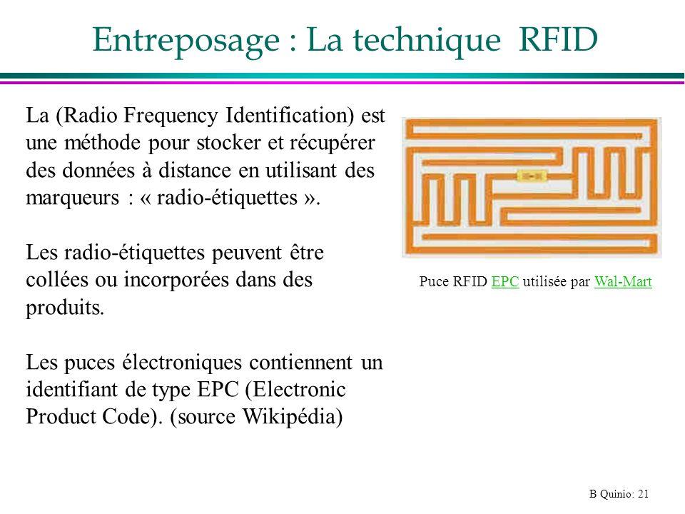 B Quinio: 21 Entreposage : La technique RFID Puce RFID EPC utilisée par Wal-MartEPCWal-Mart La (Radio Frequency Identification) est une méthode pour s