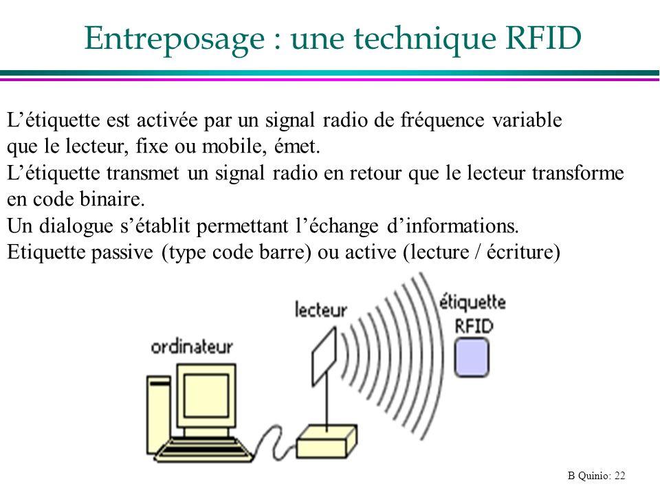 B Quinio: 22 Entreposage : une technique RFID Létiquette est activée par un signal radio de fréquence variable que le lecteur, fixe ou mobile, émet. L