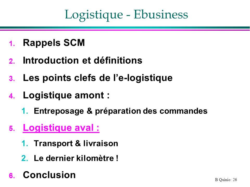 B Quinio: 26 Logistique - Ebusiness 1. Rappels SCM 2. Introduction et définitions 3. Les points clefs de le-logistique 4. Logistique amont : 1.Entrepo