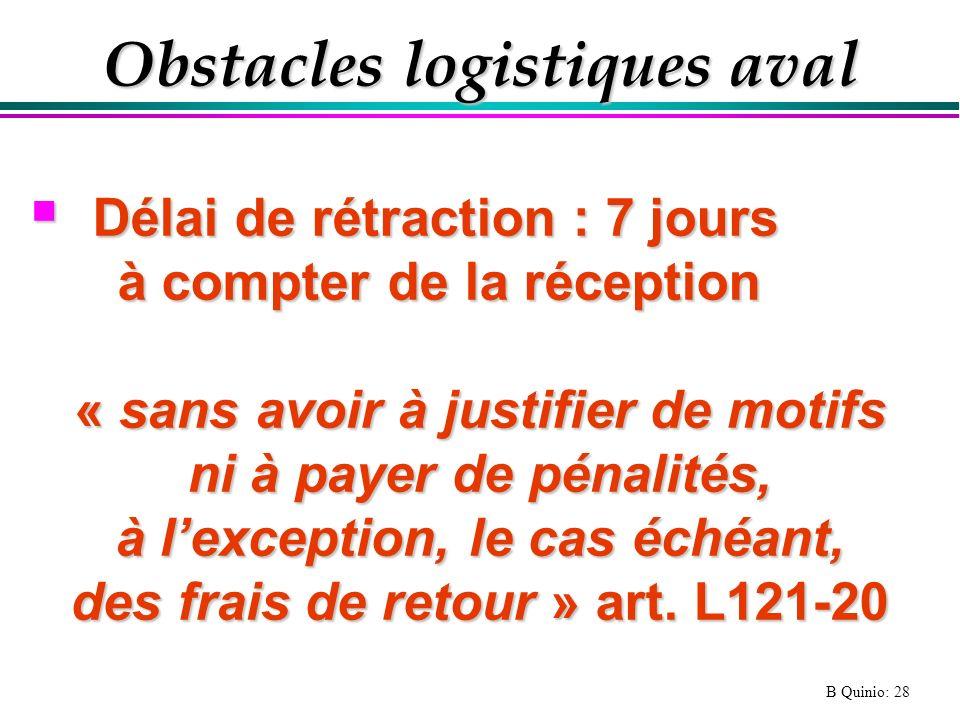 B Quinio: 28 Obstacles logistiques aval Délai de rétraction : 7 jours Délai de rétraction : 7 jours à compter de la réception à compter de la réceptio