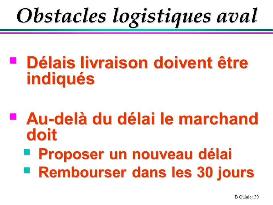 B Quinio: 30 Obstacles logistiques aval Délais livraison doivent être indiqués Délais livraison doivent être indiqués Au-delà du délai le marchand doi
