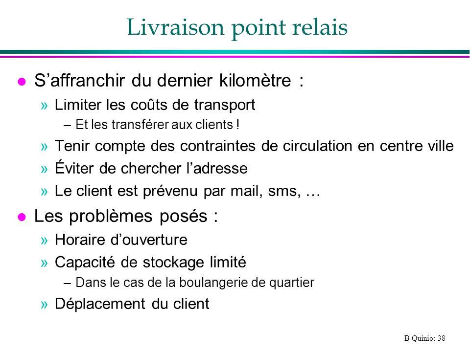 B Quinio: 38 Livraison point relais l Saffranchir du dernier kilomètre : »Limiter les coûts de transport –Et les transférer aux clients ! »Tenir compt