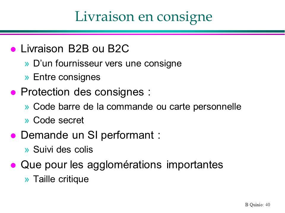 B Quinio: 40 Livraison en consigne l Livraison B2B ou B2C »Dun fournisseur vers une consigne »Entre consignes l Protection des consignes : »Code barre