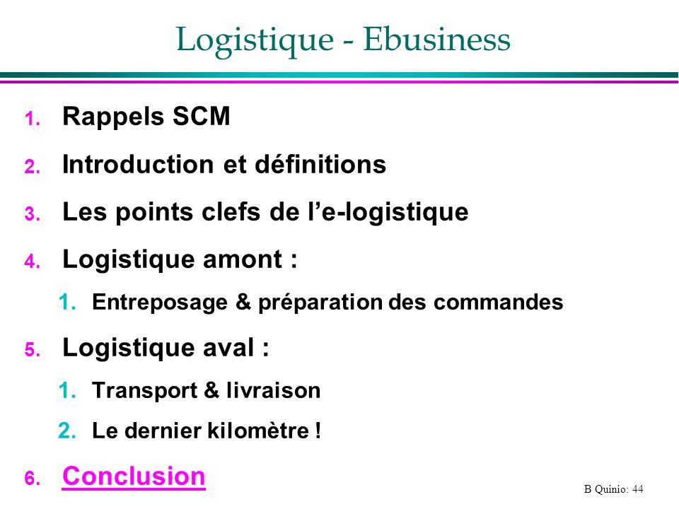 B Quinio: 44 Logistique - Ebusiness 1. Rappels SCM 2. Introduction et définitions 3. Les points clefs de le-logistique 4. Logistique amont : 1.Entrepo