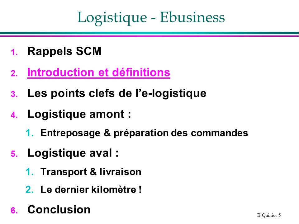 B Quinio: 5 Logistique - Ebusiness 1. Rappels SCM 2. Introduction et définitions 3. Les points clefs de le-logistique 4. Logistique amont : 1.Entrepos