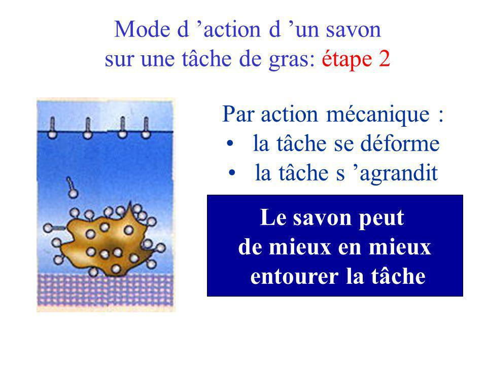 Mode d action d un savon sur une tâche de gras: étape 2 Par action mécanique : la tâche se déforme la tâche s agrandit Le savon peut de mieux en mieux