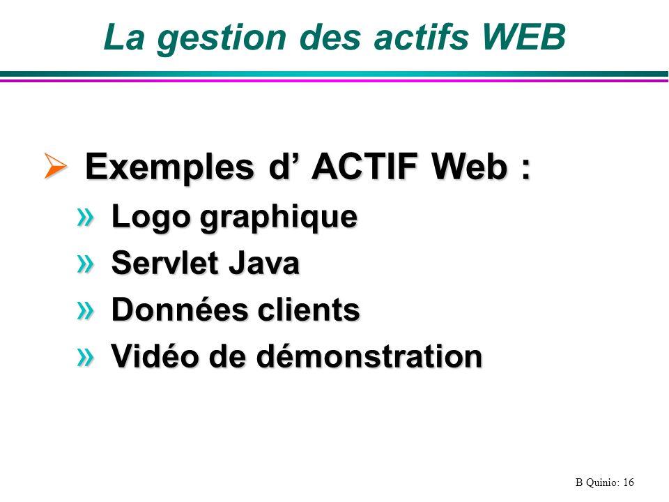B Quinio: 16 La gestion des actifs WEB Exemples d ACTIF Web : Exemples d ACTIF Web : » Logo graphique » Servlet Java » Données clients » Vidéo de démonstration