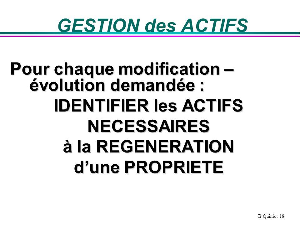 B Quinio: 18 GESTION des ACTIFS Pour chaque modification – évolution demandée : IDENTIFIER les ACTIFS NECESSAIRES à la REGENERATION dune PROPRIETE
