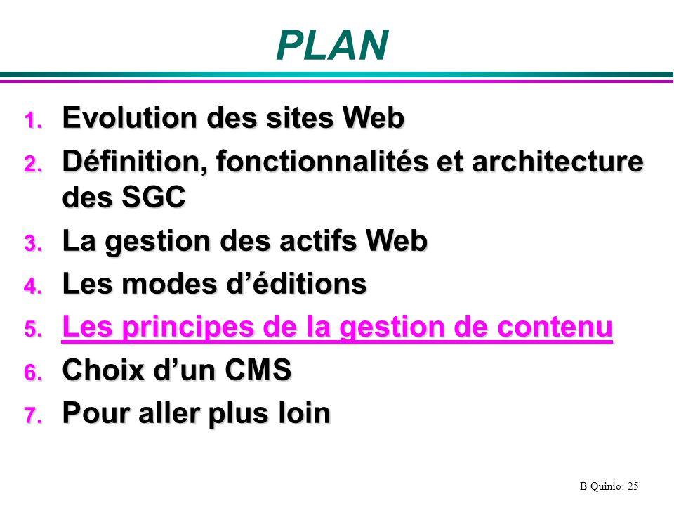 B Quinio: 25 PLAN 1.Evolution des sites Web 2.