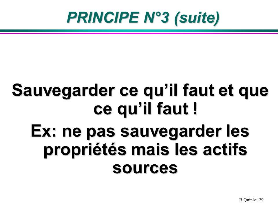 B Quinio: 29 PRINCIPE N°3 (suite) Sauvegarder ce quil faut et que ce quil faut .