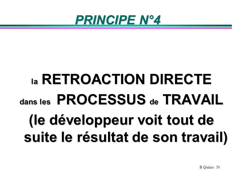 B Quinio: 30 PRINCIPE N°4 la RETROACTION DIRECTE dans les PROCESSUS de TRAVAIL (le développeur voit tout de suite le résultat de son travail)