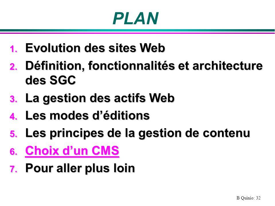 B Quinio: 32 PLAN 1.Evolution des sites Web 2.