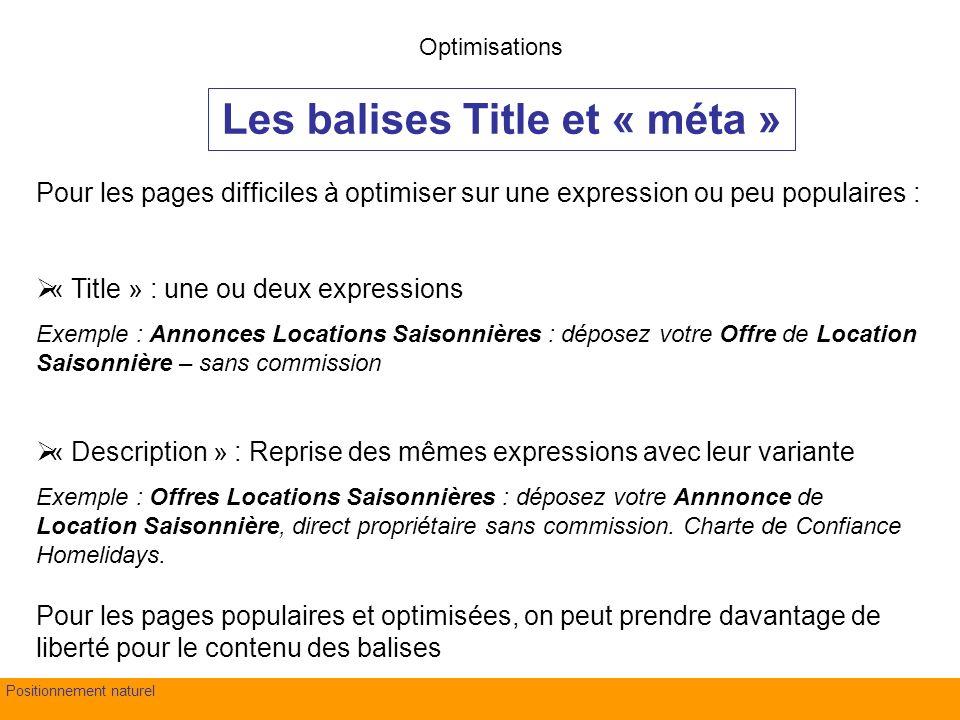 fond Evry – 4 juillet 2007Positionnement naturel Les balises Title et « méta » Optimisations Pour les pages difficiles à optimiser sur une expression