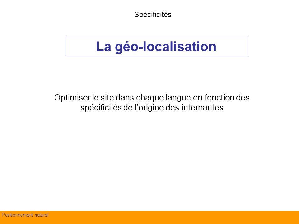 fond Evry – 4 juillet 2007Positionnement naturel Optimiser le site dans chaque langue en fonction des spécificités de lorigine des internautes La géo-