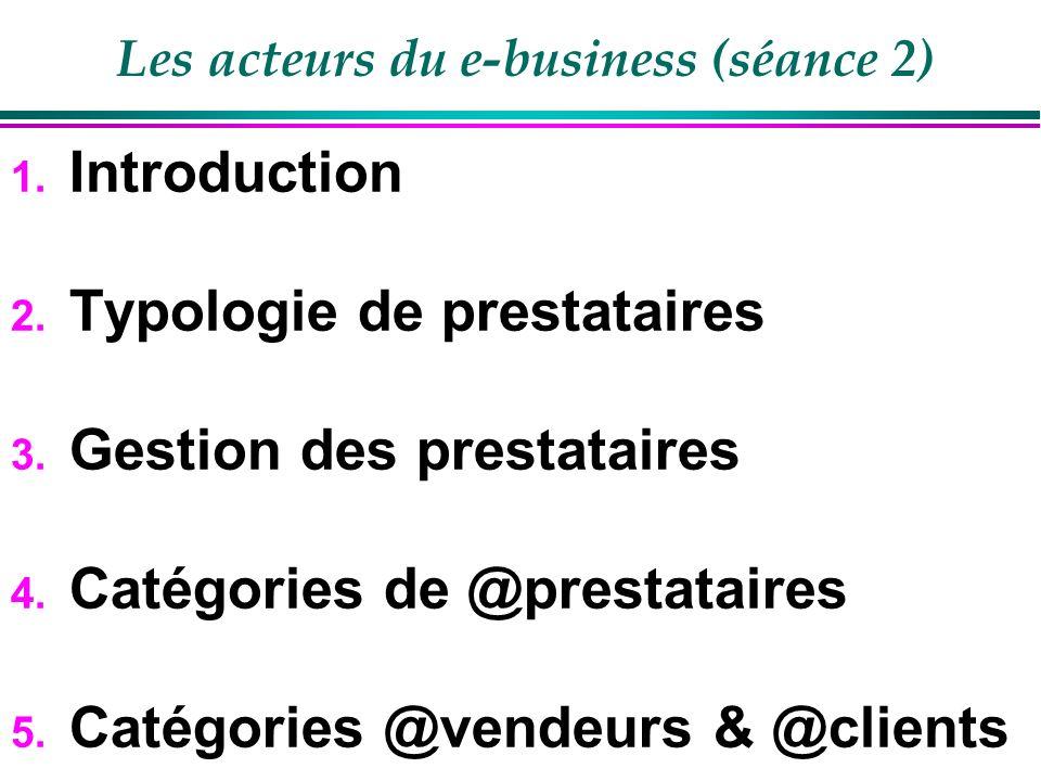 Les acteurs du e-business 1.Introduction 2. Typologie dacteurs 3.