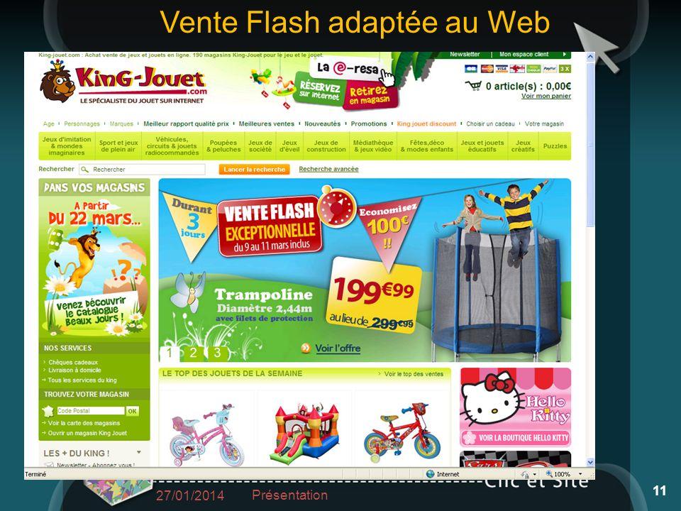 27/01/2014 Présentation 11 Vente Flash adaptée au Web