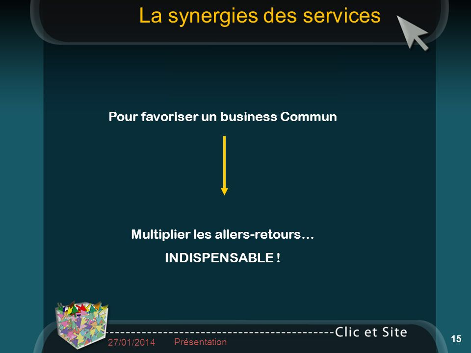 Pour favoriser un business Commun Multiplier les allers-retours… INDISPENSABLE .