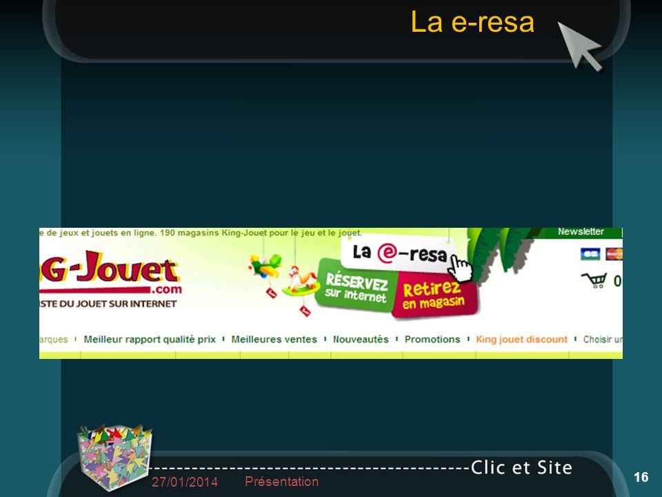 27/01/2014 Présentation 16 La e-resa