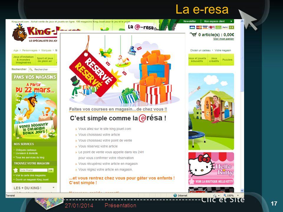 27/01/2014 Présentation 17 La e-resa
