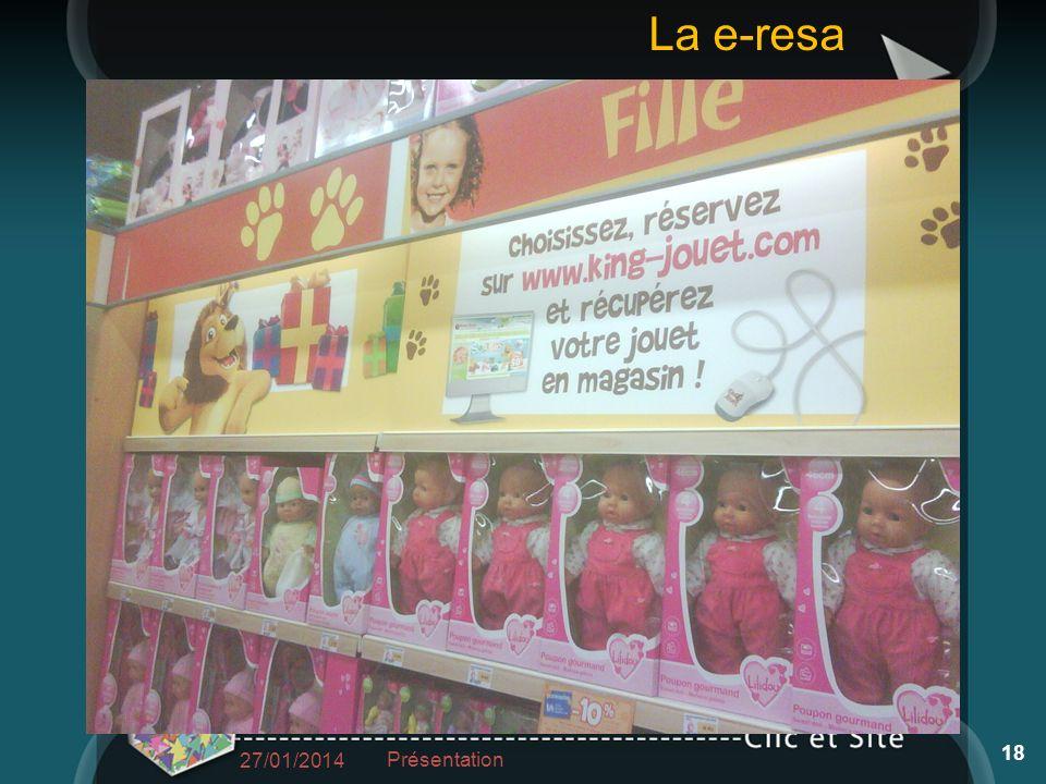 27/01/2014 Présentation 18 La e-resa