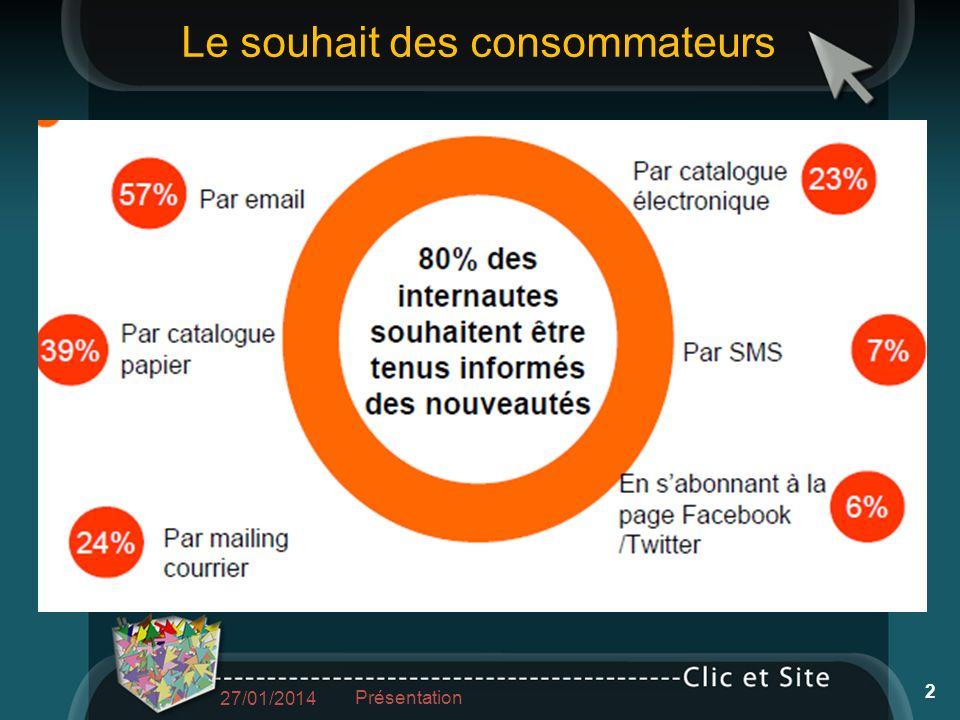 Le souhait des consommateurs 27/01/2014 Présentation 2