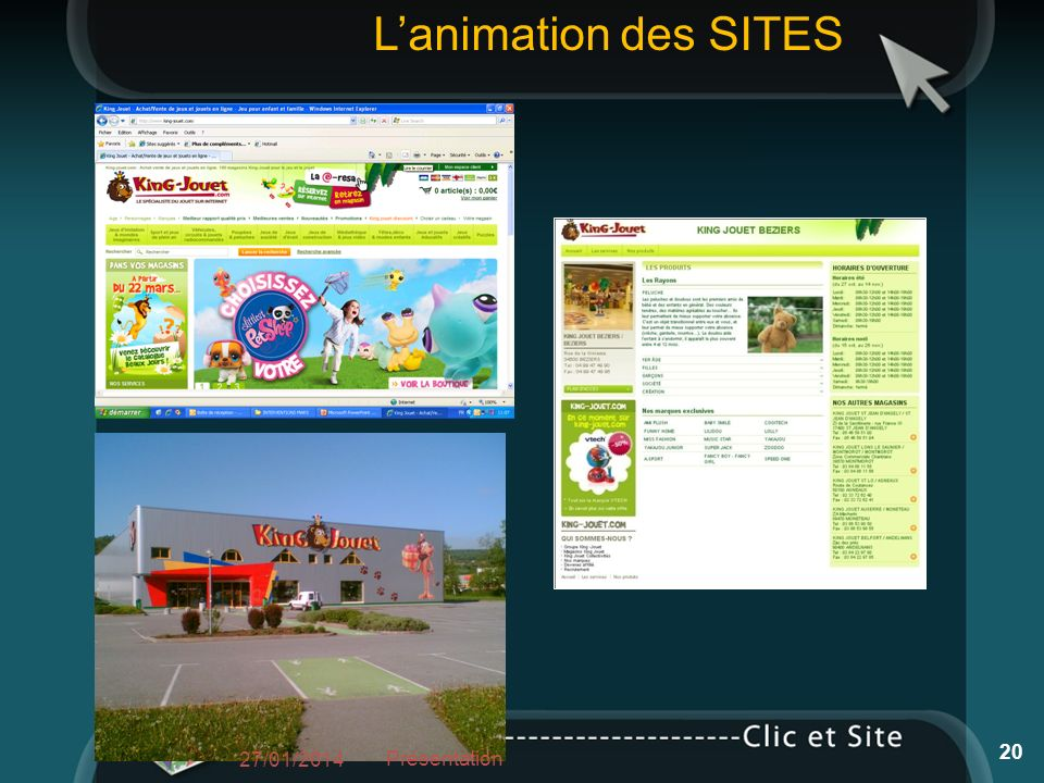 27/01/2014 Présentation 20 Lanimation des SITES