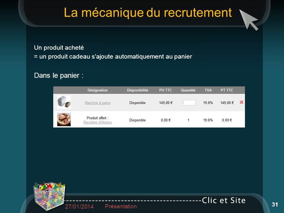 La mécanique du recrutement Un produit acheté = un produit cadeau s ajoute automatiquement au panier Dans le panier : 27/01/2014 Présentation 31