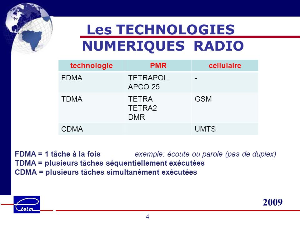 2009 4 Les TECHNOLOGIES NUMERIQUES RADIO technologiePMRcellulaire FDMATETRAPOL APCO 25 - TDMATETRA TETRA2 DMR GSM CDMAUMTS FDMA = 1 tâche à la foisexe