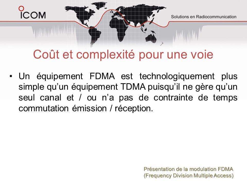 Coût et complexité pour une voie Un équipement FDMA est technologiquement plus simple quun équipement TDMA puisquil ne gère quun seul canal et / ou na