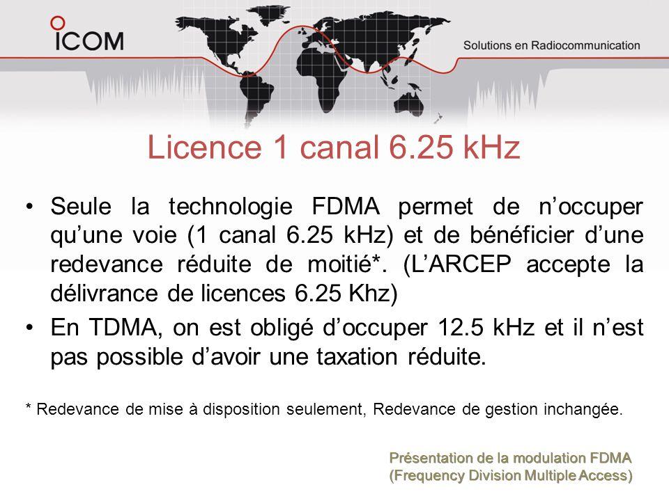 Licence 1 canal 6.25 kHz Seule la technologie FDMA permet de noccuper quune voie (1 canal 6.25 kHz) et de bénéficier dune redevance réduite de moitié*