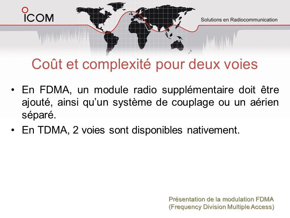 Coût et complexité pour deux voies En FDMA, un module radio supplémentaire doit être ajouté, ainsi quun système de couplage ou un aérien séparé. En TD