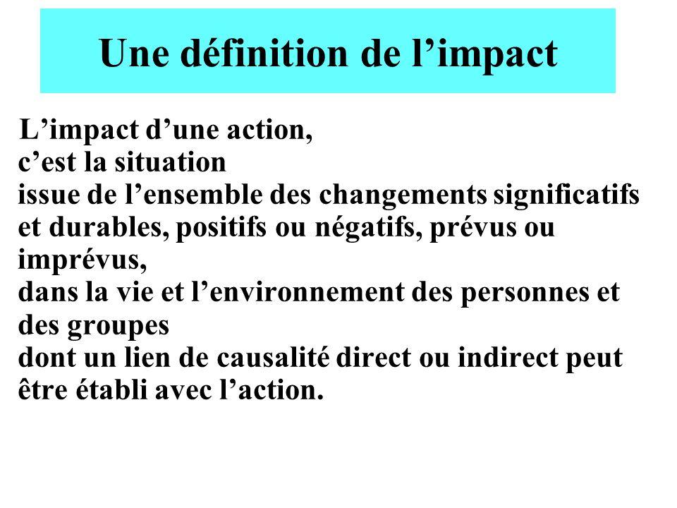 Une définition de limpact Limpact dune action, cest la situation issue de lensemble des changements significatifs et durables, positifs ou négatifs, p