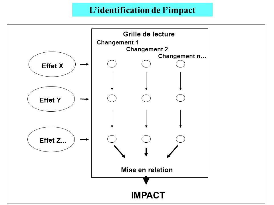 Changement n… Changement 2 Changement 1 Grille de lecture Effet X Effet Y Effet Z... IMPACT Mise en relation Lidentification de limpact