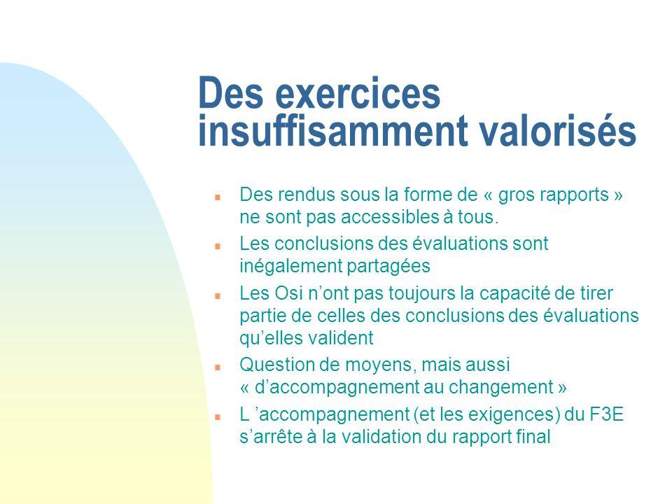 Des exercices insuffisamment valorisés n Des rendus sous la forme de « gros rapports » ne sont pas accessibles à tous.