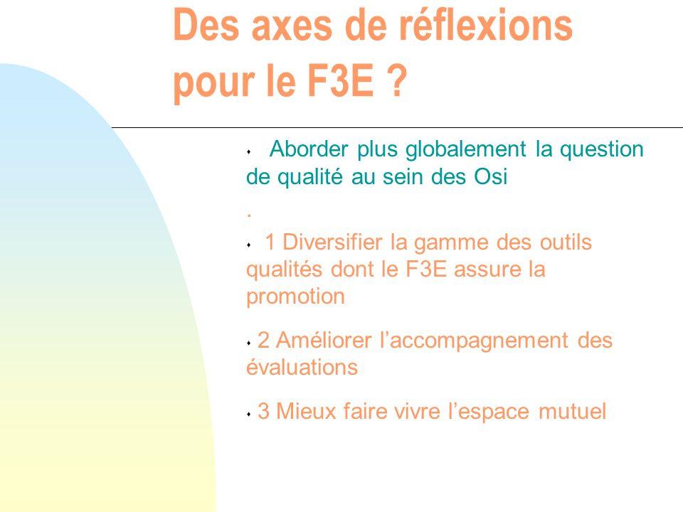 Des axes de réflexions pour le F3E .