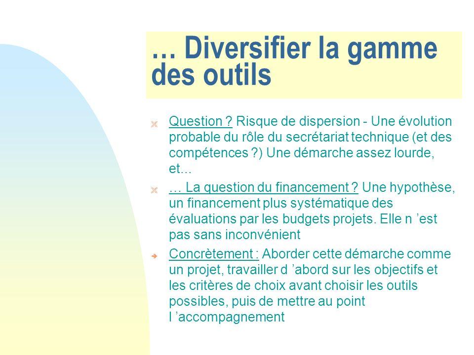 … Diversifier la gamme des outils Question .