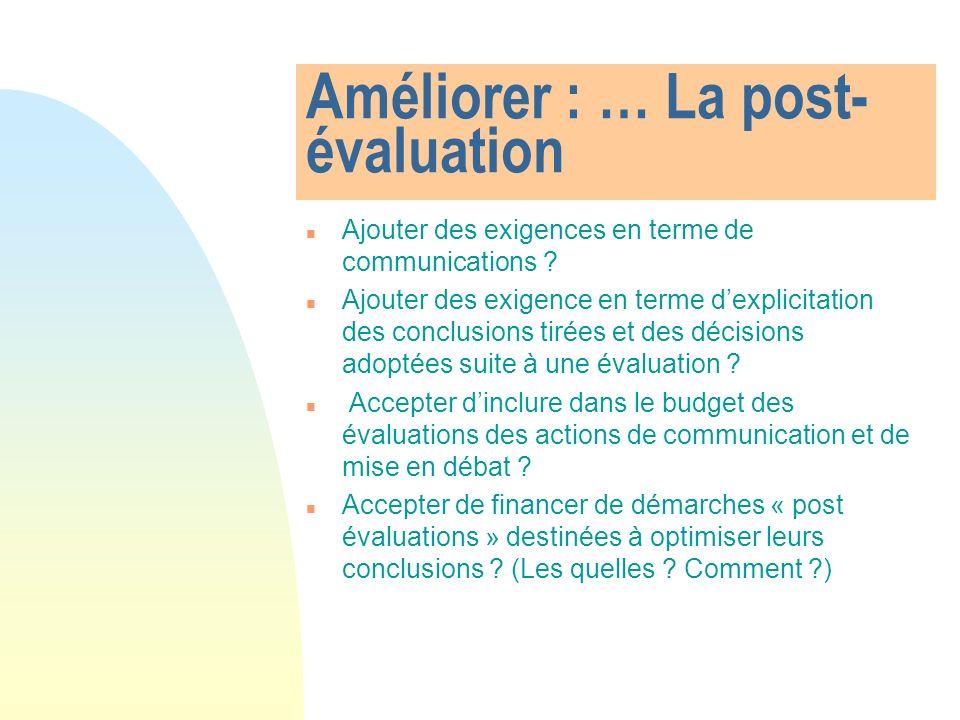 Améliorer : … La post- évaluation Ajouter des exigences en terme de communications .