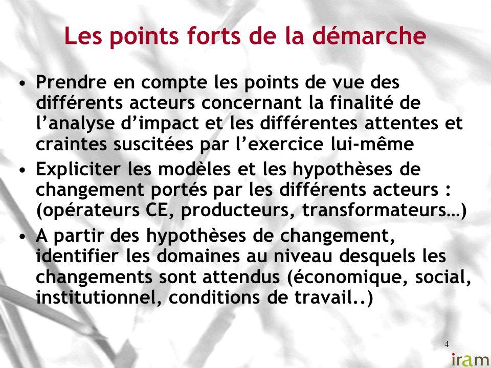 5 Les points forts de la démarche (suite) Repérer les effets et les indicateurs par domaine de changement Impliquer les acteurs aux différentes étapes afin quils sinscrivent dans un processus dapprentissage et dappropriation (ex AdM: évaluateurs externes et aussi bénévoles…) Reconstruire la situation de référence pour apprécier le changement et conclure à lattribution dimpact par le CE, en tenant compte des autres facteurs de changements Définir le mode de collecte de linformation en tenant compte des différents niveaux du changement (individu, ménage, groupements, autres…)