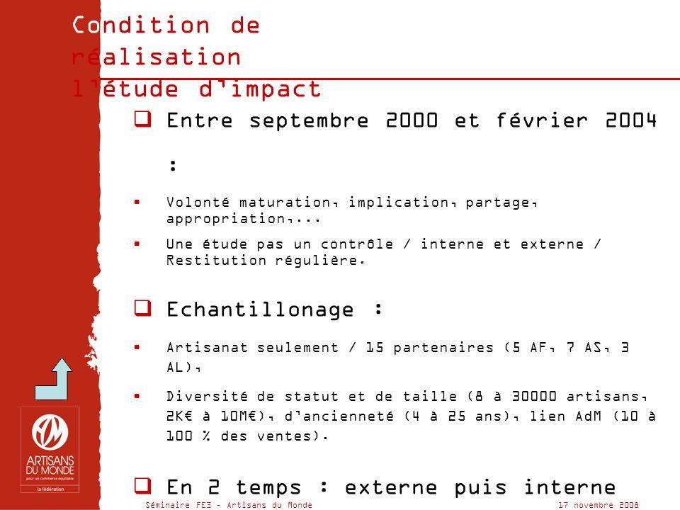 Séminaire FE3 – Artisans du Monde 17 novembre 2008 Condition de réalisation de létude dimpact Entre septembre 2000 et février 2004 : Volonté maturation, implication, partage, appropriation,...