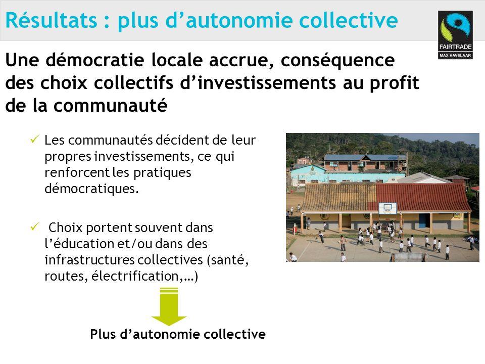 Les communautés décident de leur propres investissements, ce qui renforcent les pratiques démocratiques.