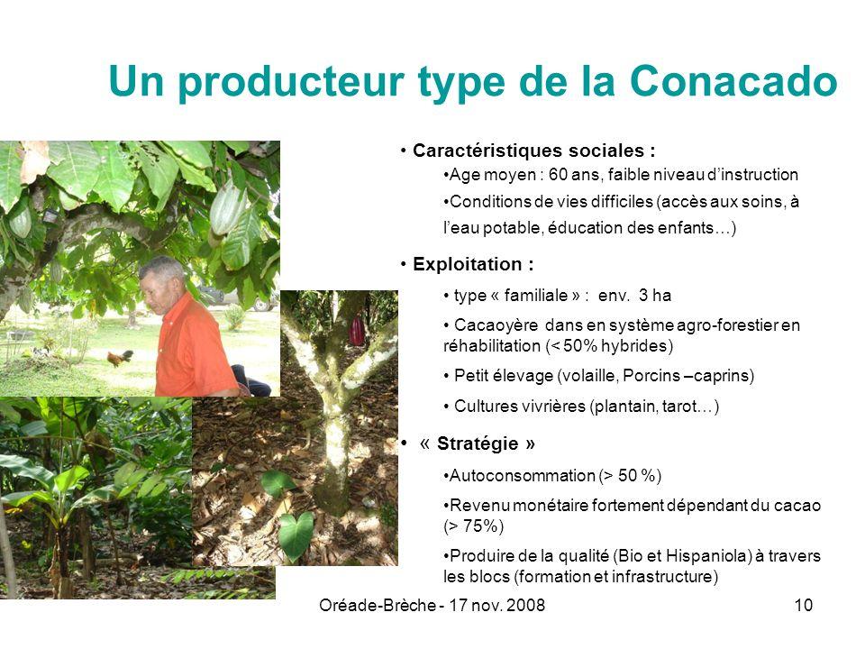 Oréade-Brèche - 17 nov. 200810 Un producteur type de la Conacado Caractéristiques sociales : Age moyen : 60 ans, faible niveau dinstruction Conditions