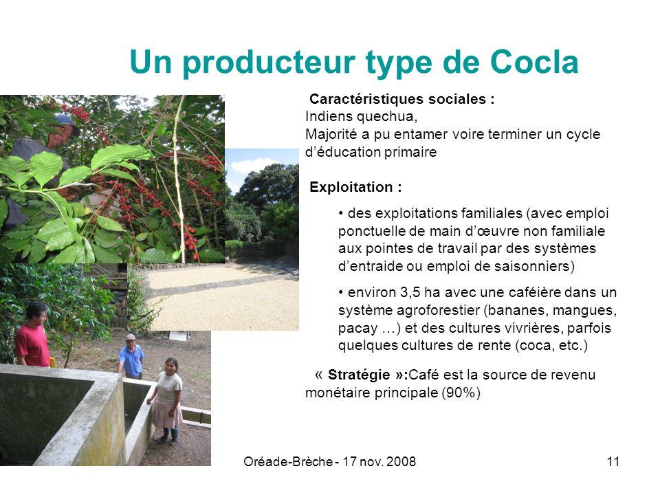 Oréade-Brèche - 17 nov. 200811 Un producteur type de Cocla Caractéristiques sociales : Indiens quechua, Majorité a pu entamer voire terminer un cycle