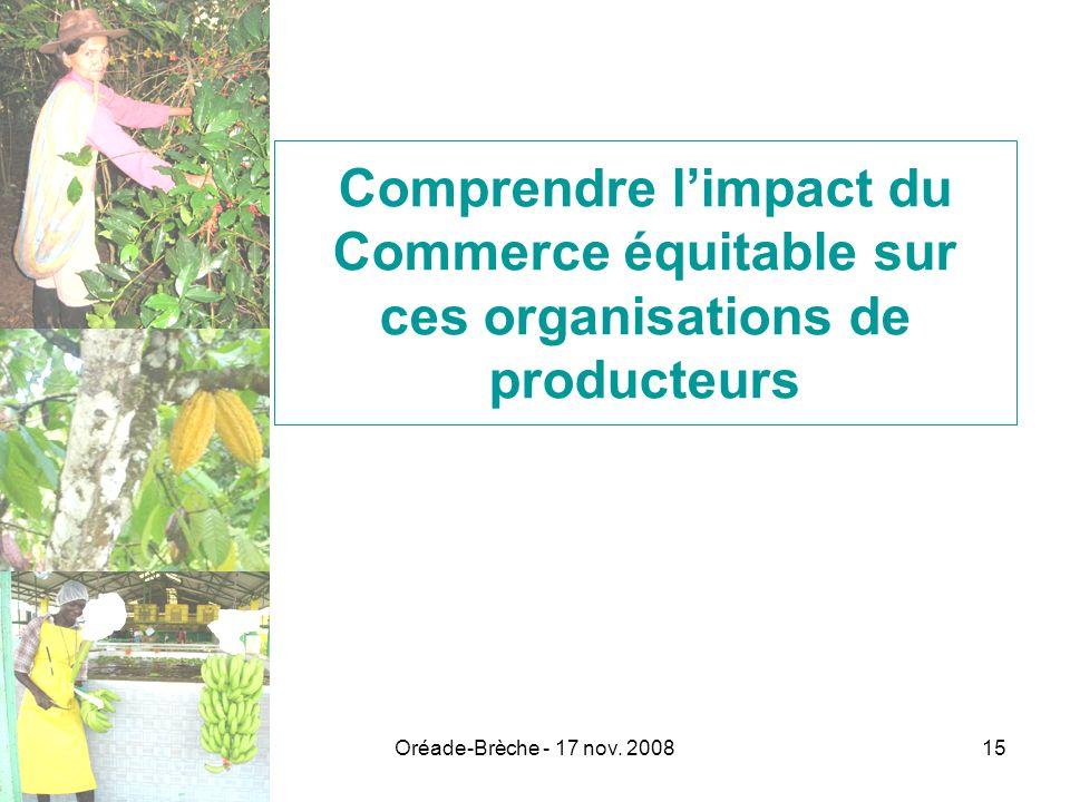 Oréade-Brèche - 17 nov. 200815 Comprendre limpact du Commerce équitable sur ces organisations de producteurs