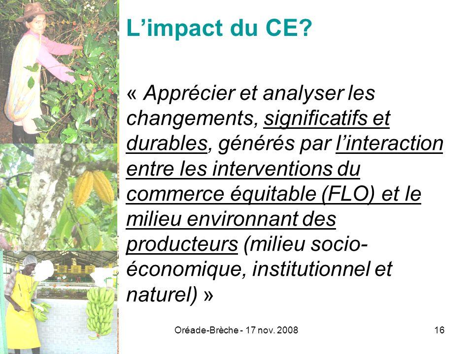 Oréade-Brèche - 17 nov. 200816 Limpact du CE? « Apprécier et analyser les changements, significatifs et durables, générés par linteraction entre les i