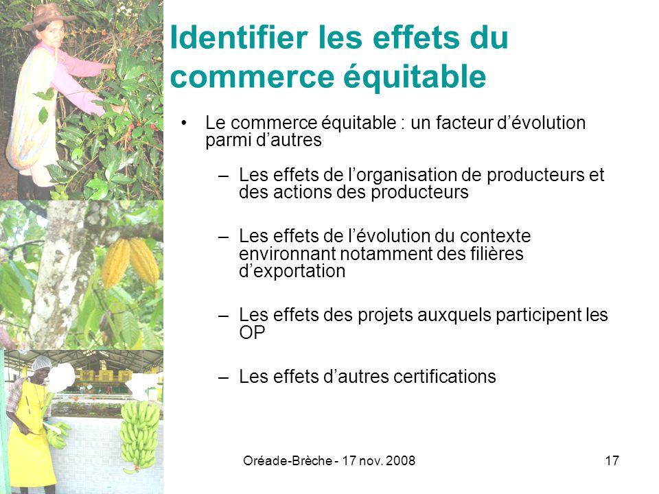 Oréade-Brèche - 17 nov. 200817 Identifier les effets du commerce équitable Le commerce équitable : un facteur dévolution parmi dautres –Les effets de