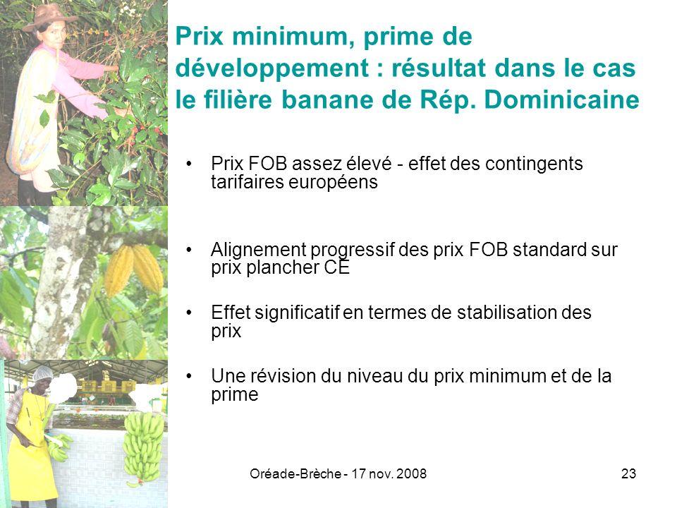 Oréade-Brèche - 17 nov. 200823 Prix minimum, prime de développement : résultat dans le cas le filière banane de Rép. Dominicaine Prix FOB assez élevé